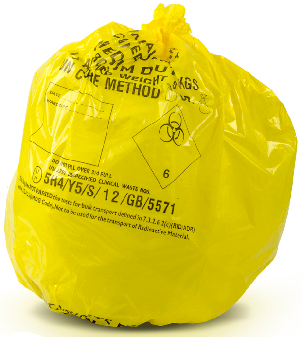 8kgs Yellow Clinical Waste Bags Medium Duty Roll of 50 90L